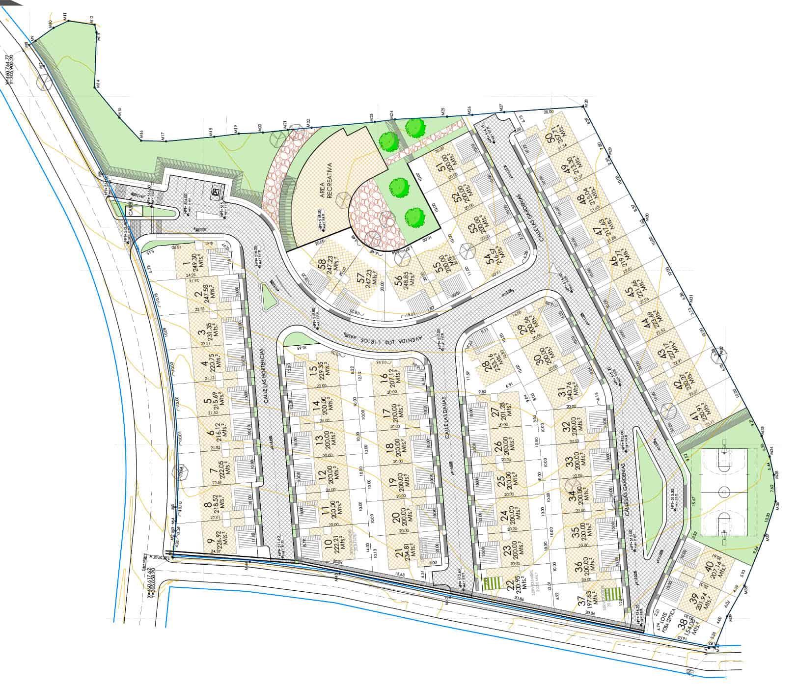 Plano de Distribución de Residencial Opico Gardens